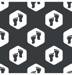 Black hexagon footprint pattern vector