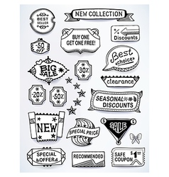 Black-white set of promotional sales english text vector image
