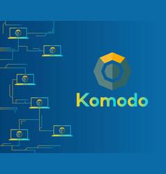 Blockchain komodo symbol circuit background vector