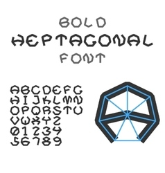 Bold Heptagonal Alphabet And Digits Geometric vector image