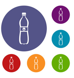 Bottle of water icons set vector