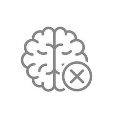Brain with cross checkmark line icon diseases vector
