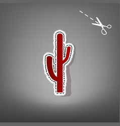 cactus simple sign red icon with vector image