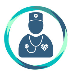 Cardiologist icon heart diagram and stethoscope vector