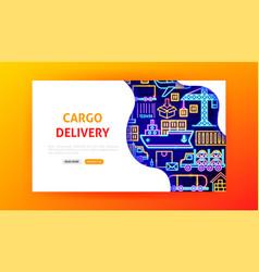 cargo delivery neon landing page vector image