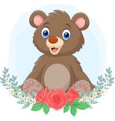 cartoon babear sitting with flowers background vector image