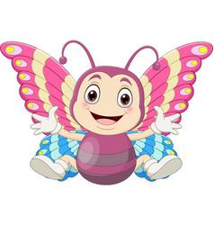 cartoon babutterfly sitting and waving vector image