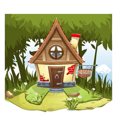 Cartoon fairy house on the edge of forest on a vector