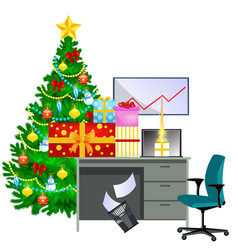 cartoon image office desk and christmas tree vector image