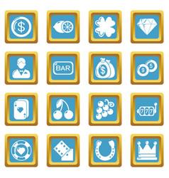 Casino icons set sapphirine square vector