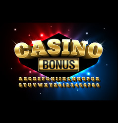 casino style glossy font vector image