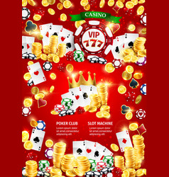 casinodice and poker games gold coins and chips vector image