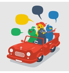 Cheerful company of birds in the car vector