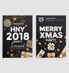christmas party flyer design- golden design vector image
