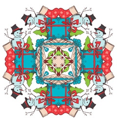 Christmas square snowflake vector