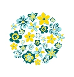 Circle with tropical flowers vector
