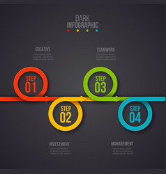 circles infographic on a dark background vector image
