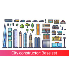 city constructor flat line vector image