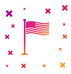 color national flag usa on flagpole icon vector image