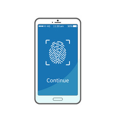 continue work with gadget put fingerprint on phone vector image