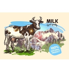 Cow and mountains vector