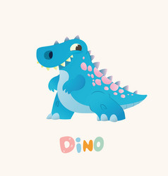cute blue cartoon baby dino bright colorful vector image