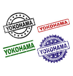 Damaged textured yokohama stamp seals vector