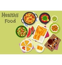 Delicious lunch icon for healthy food design vector image