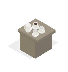 desk with tea set in working break cartoon style vector image