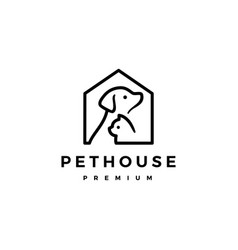 Dog cat pet house home logo icon vector