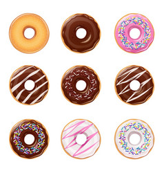 Donuts set of american sweets vector