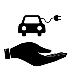 Eco car in hand icon vector image