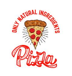 Emblem template with pizza slice design element vector