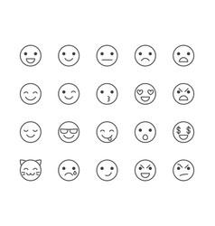 emotions flat line icons set happy face sad vector image
