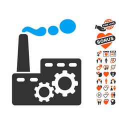 Factory building icon with dating bonus vector
