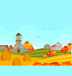 Farm village atumn season with hay background vector