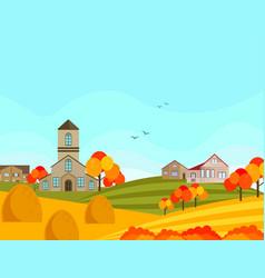 farm village atumn season with hay background vector image
