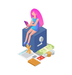 female girl with tablet icons vector image