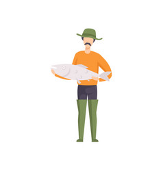 Fisherman standing with big fish caught vector
