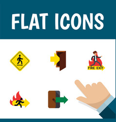 flat icon emergency set of entry directional vector image