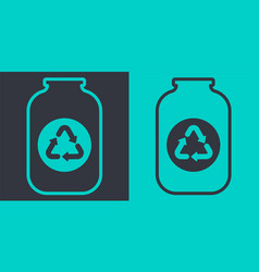 Glass jar recycling icon flat outline vector
