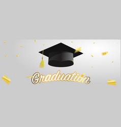 graduate caps and gold confetti vector image