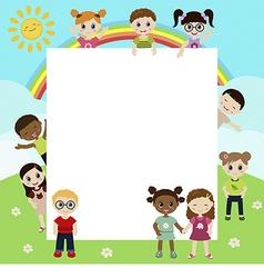 Group of happy children vector image
