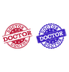 Grunge scratched doctor seal stamps vector