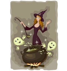 Halloween witch cooking vector