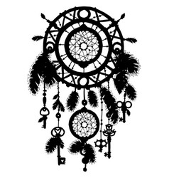 Hand drawn dreamcatcher silhouette with feathers vector