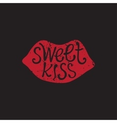 hand drawn sweet kiss vector image