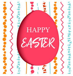 Happy easter decorated red flat egg with simple vector