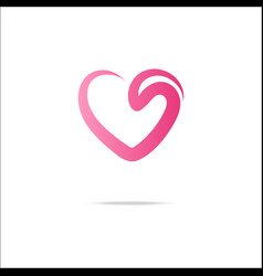 Heart logo with swirl vector