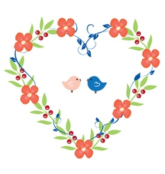 Heart wreath with birds pink vector